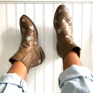 Taupe Tan Metallic Star Ankle Booties